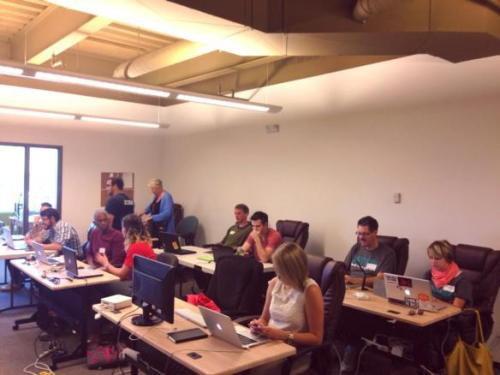 Members of the ABQ Civic Entrepreneur Bootcamp building apps on the CityLife platform
